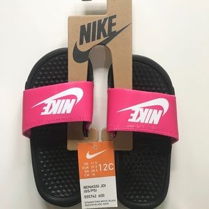 NWT Nike Girls Slides Size 12 Sandals Pink New